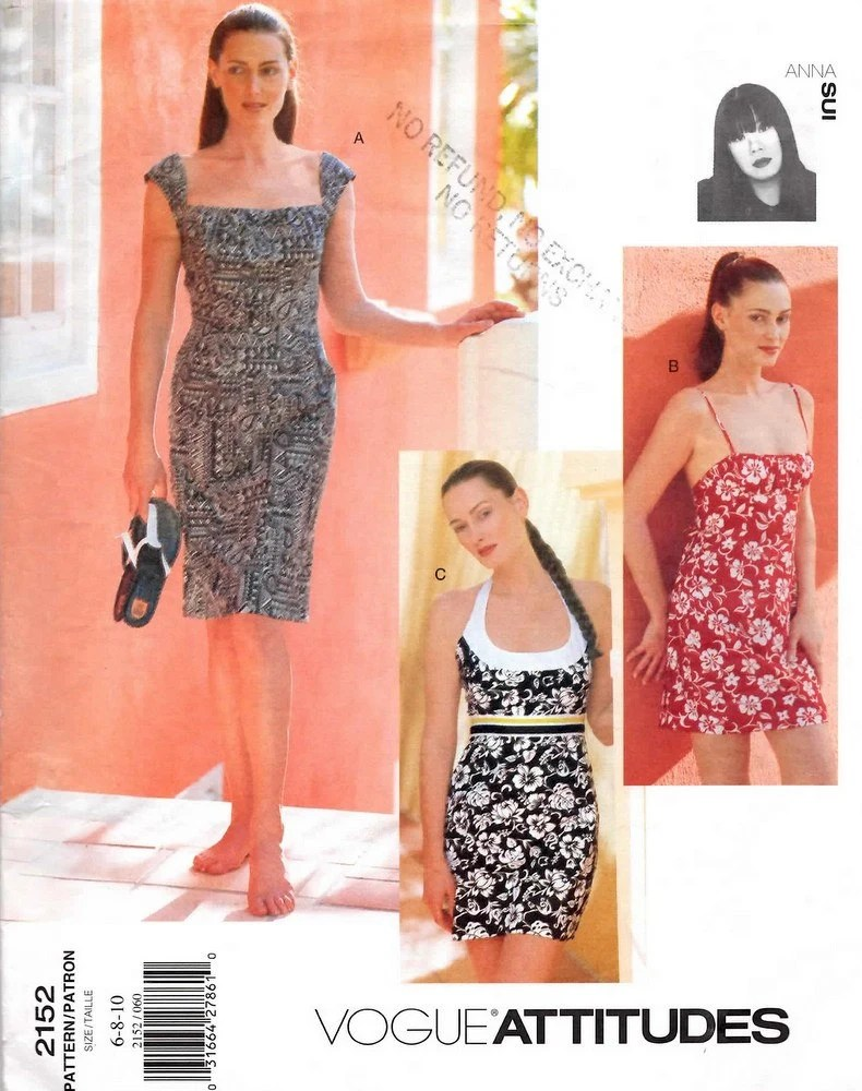 1990s Anna Sui summer dress pattern - Vogue 2152