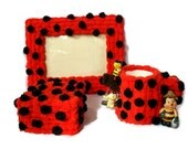 Embellished frame, trinket - jewelry box, pencil holder, decorated cup, mug, ladybug, red and black polka dots, present - JoyfulLadyBug