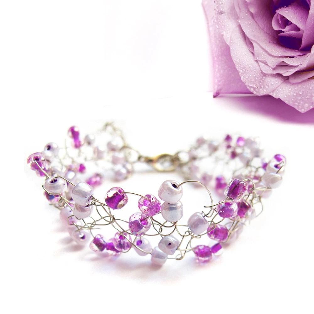 Purple Wire crochet bracelet, silver plated wire, cuff, purple, womens accessory, wire crochet jewelry, wedding, spring, Adjustable - selenayselenay