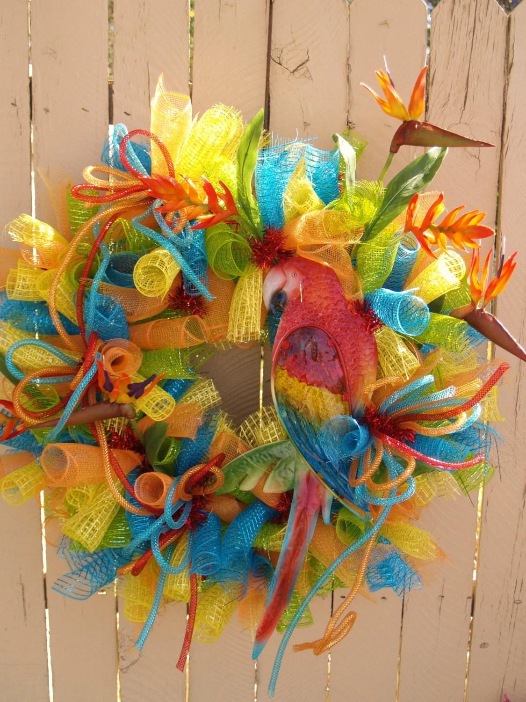 Summer Parrot Tropical Deco Mesh Wreath