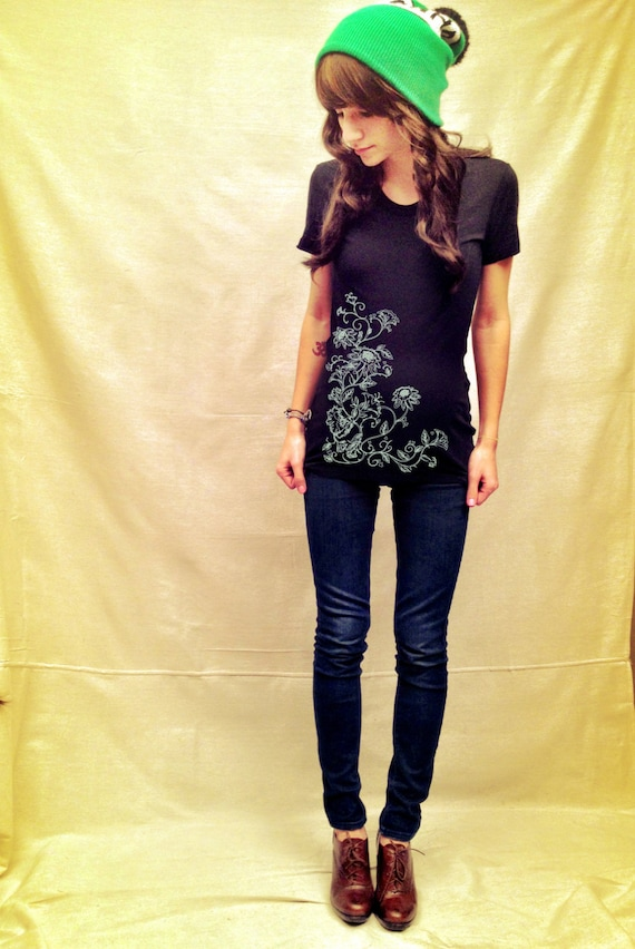 Floral Maternity Tshirt in Black (Made in USA)