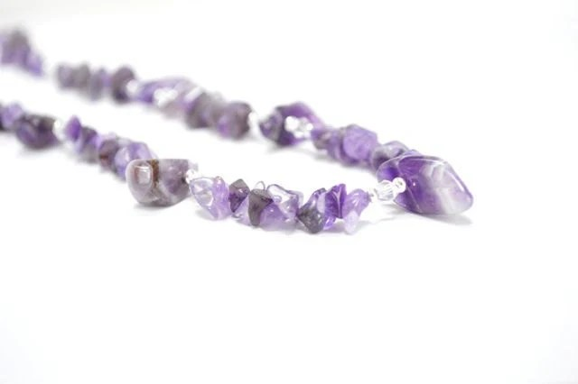 Chunky Amethyst Necklace, Purple Necklace February Birthstone, Statement Fashion Jewelry Gift For Her Under - CCARIA