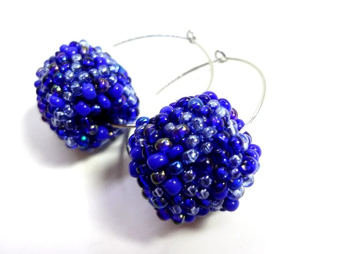 Dark Cobalt Blue Beaded Bead Hoop Earrings - MegansBeadedDesigns