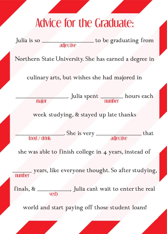 Graduation Mad Libs Ad Lib College High School By