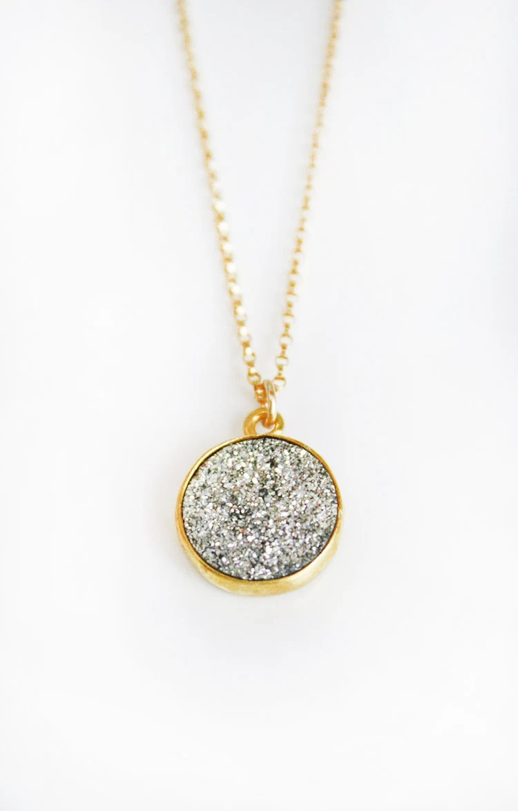 SILVER druzy coin necklace