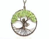 Mother Nature Tree of Life Necklace in Antique Brass, Customizable, Green, Earth, Nature Goddess - HomeBabyCrafts