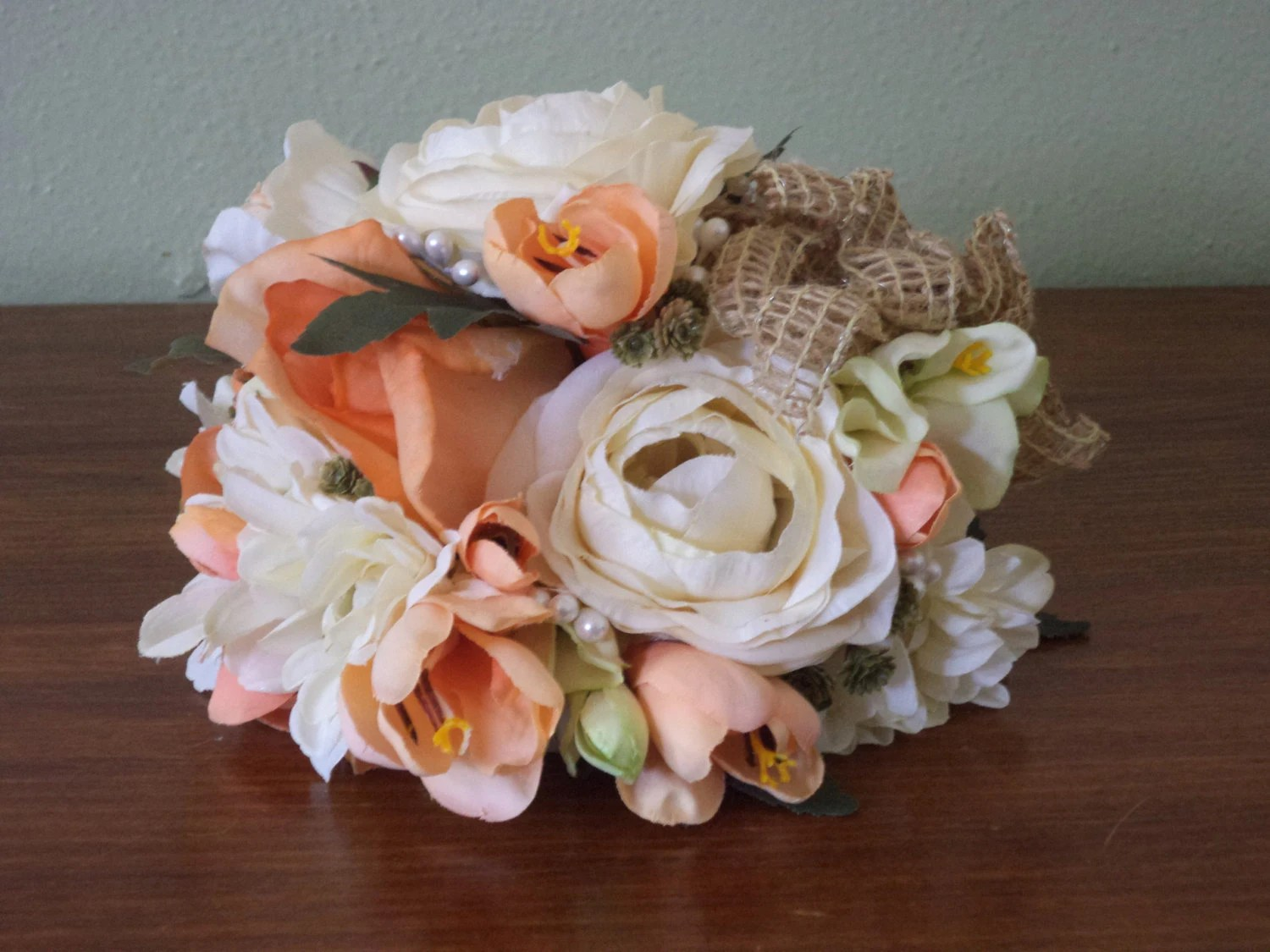 Wedding Cake Topper / Coral Real Touch And Silk Flowers