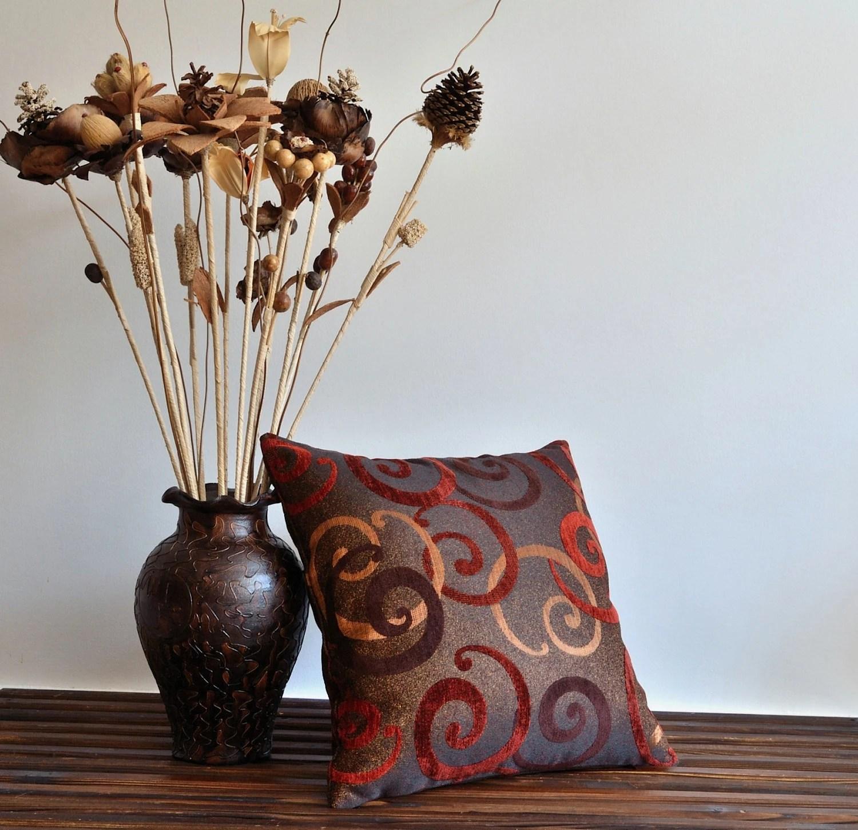 Decorative Tribal Pillow Cover - 20x20 Throw Pillow Cover - Red, Brown Decorative Cushion Cover - pillowme