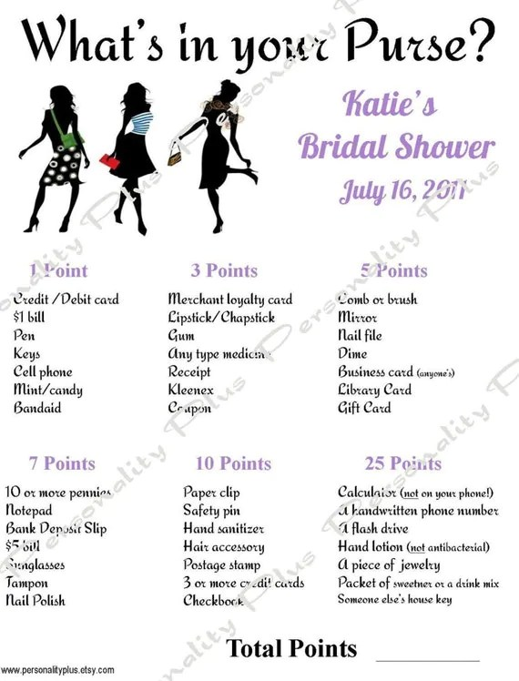 Bridal Shower Items Needed