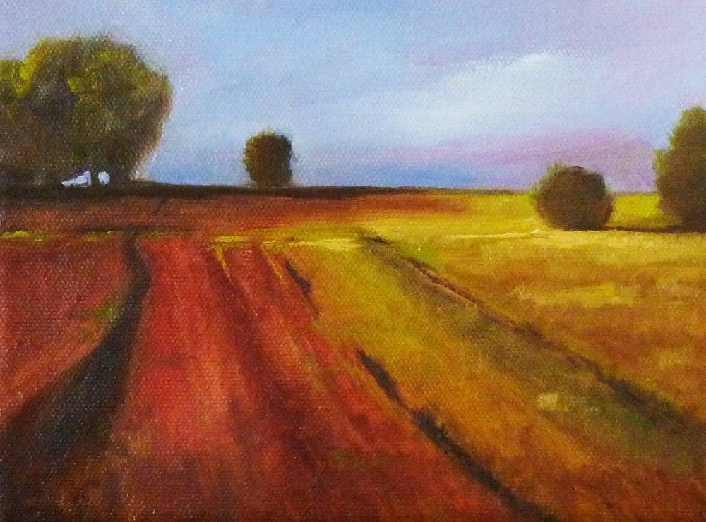 Landscape Oil Painting Original 6x8 Canvas Autumn Field