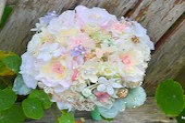 Softest Spring mint and blush handmade flower brooch bouquet -- deposit on a made-to-order wedding bouquet - Noaki