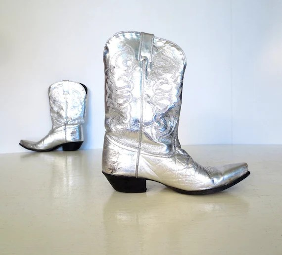 Cowboy Boots And Square Black White Toe