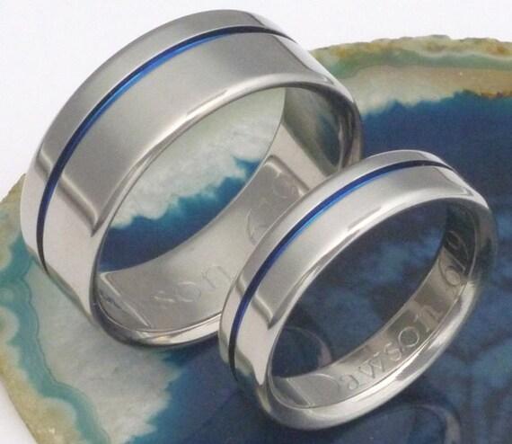 Original Thin Blue Line Titanium Wedding By
