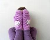 Crochet Gloves, Mittens, Gifts for Her, Christmas Gift, Lilac, Purple Gloves, Heart Gloves - SmilingKnitting