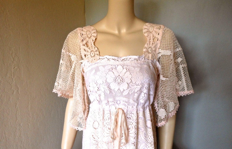 Fairy Antique Blush LACE Wedding Dress Crochet Flutter Sleeve