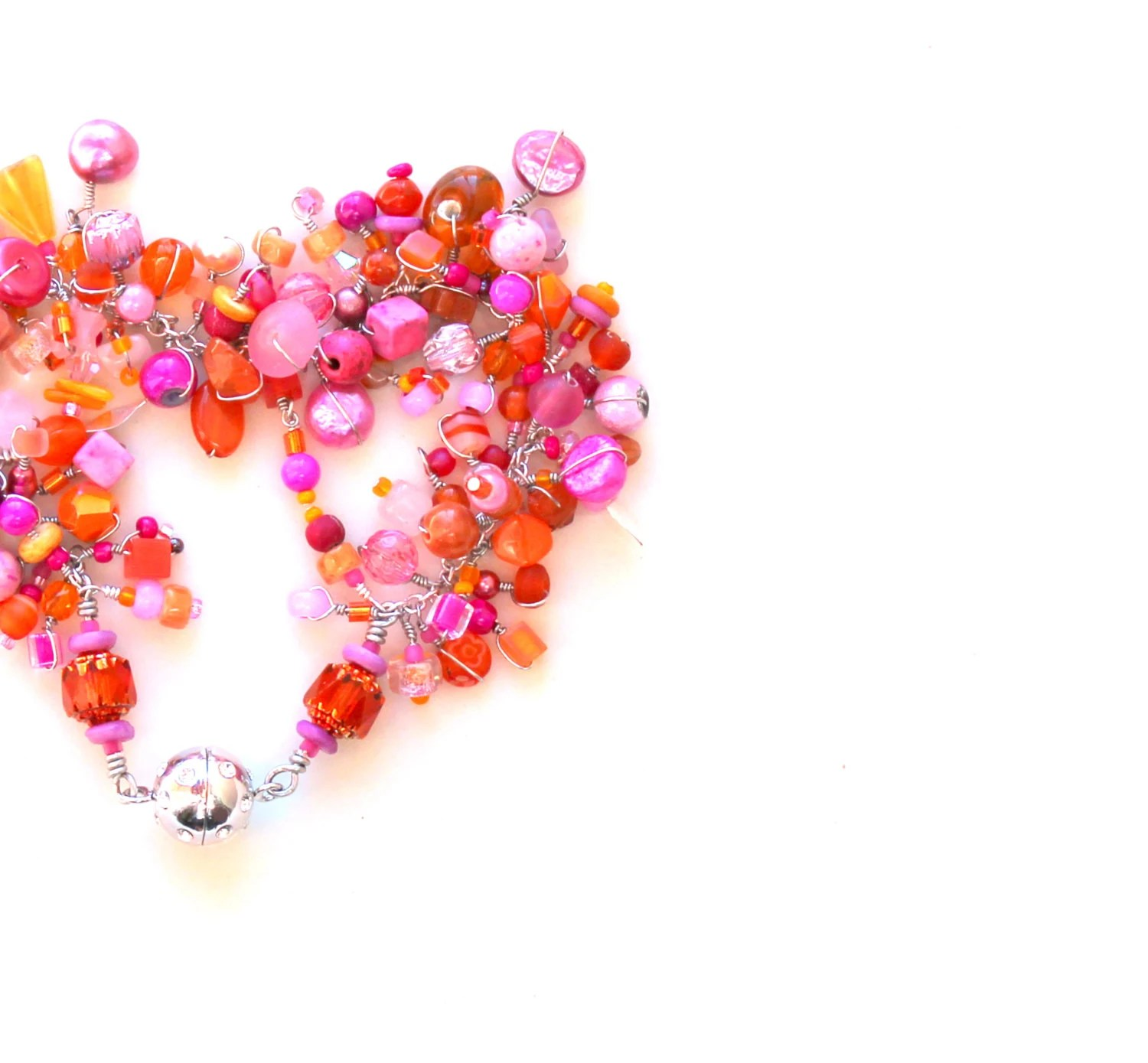 candy pink orange beaded feminine bracelet / hot pink haloween tangerine cathedral carnelian rhinestone beads wire wrapped layering gift - UniqueNecks