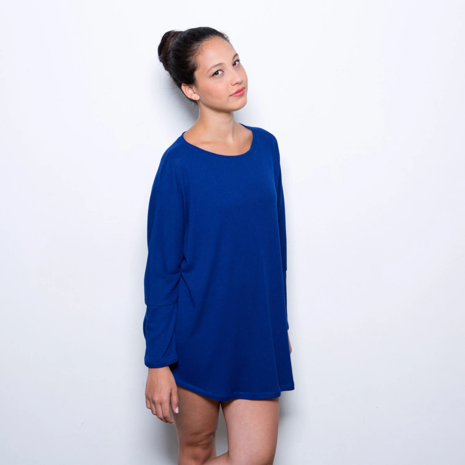 CIJ sale- Buy 2 get 1 for free, Blue tunic women oversize shirt, women blue top one size fits all - AndyVeEirn