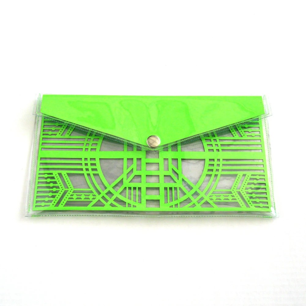 Neon Green Cut Out Art Deco Clutch - Geometric Laser Cut Paper Clear Transparent Vinyl PVC Purse - FabParlor