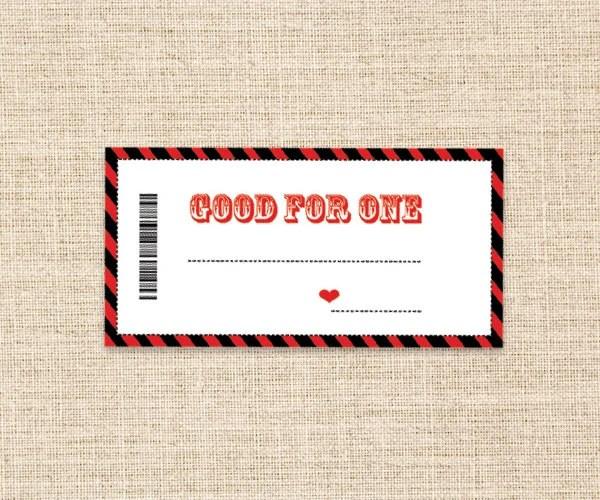 Printable Coupons In RedBlack Valentines Present