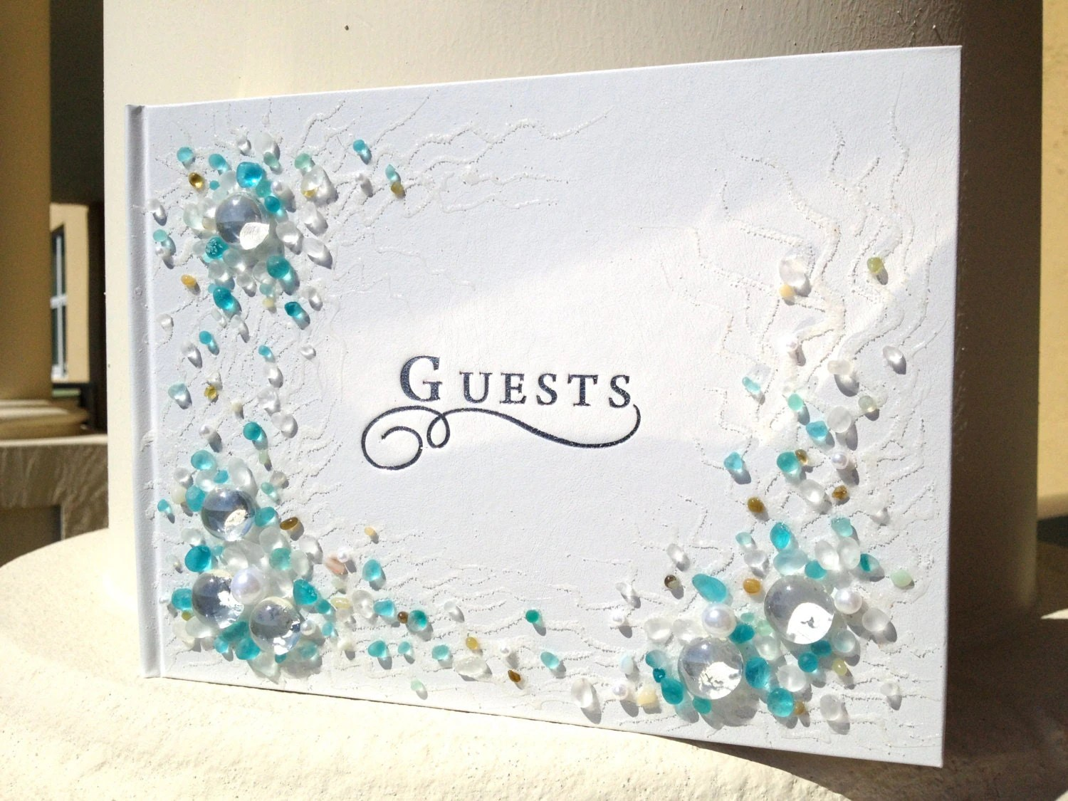Hand Decorated Beach Wedding Guest Book In Blue And White