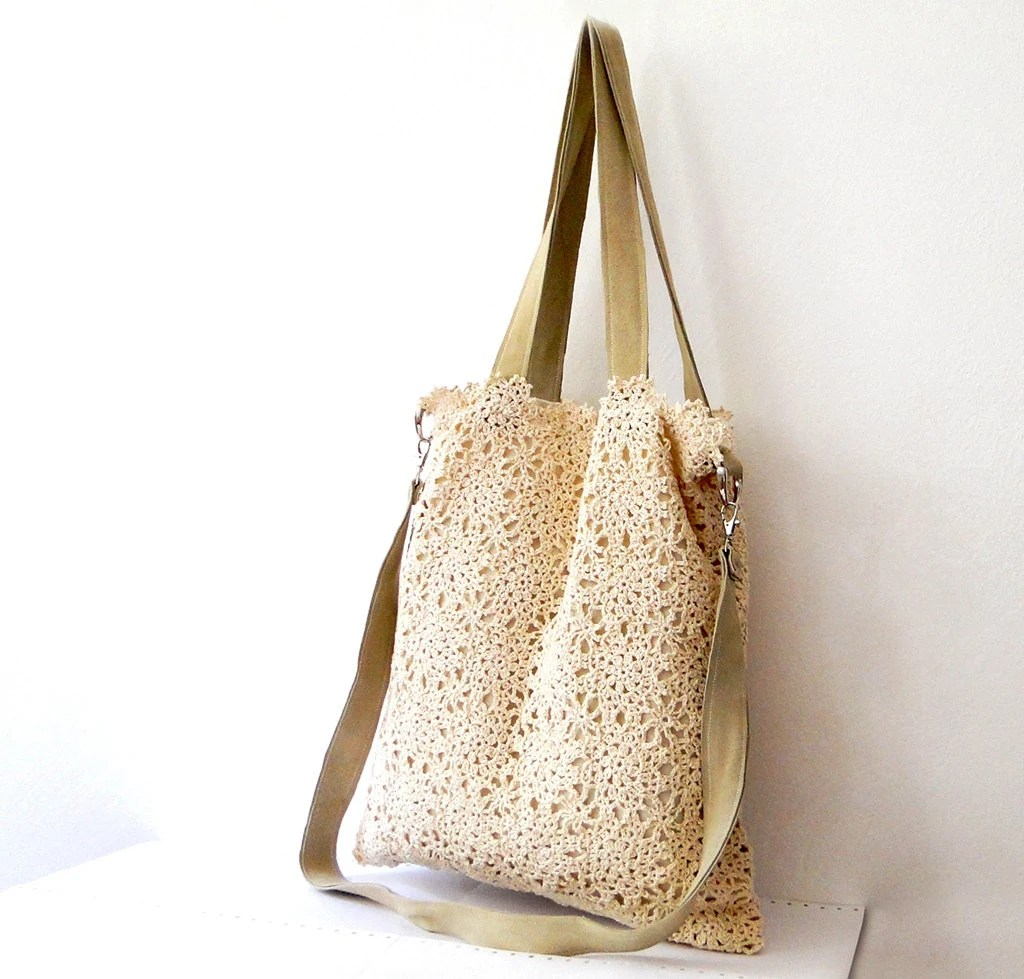 Vintage inspiration design lace crochet tote shoulder bag with leather straps - BagsbyMellysse