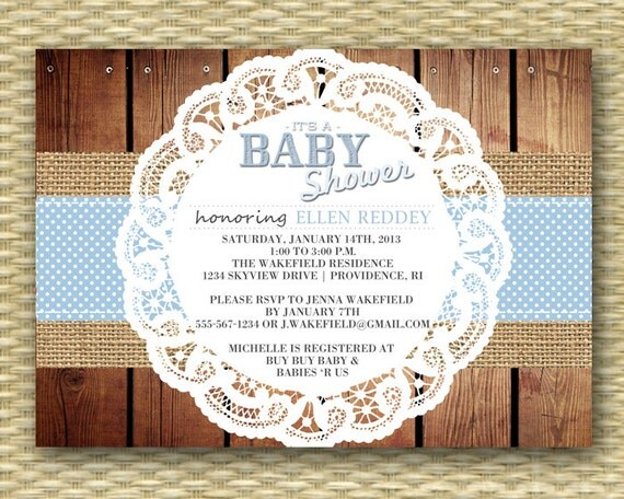 Country Baby Shower Invitation Rustic Baby Shower Baby Boy