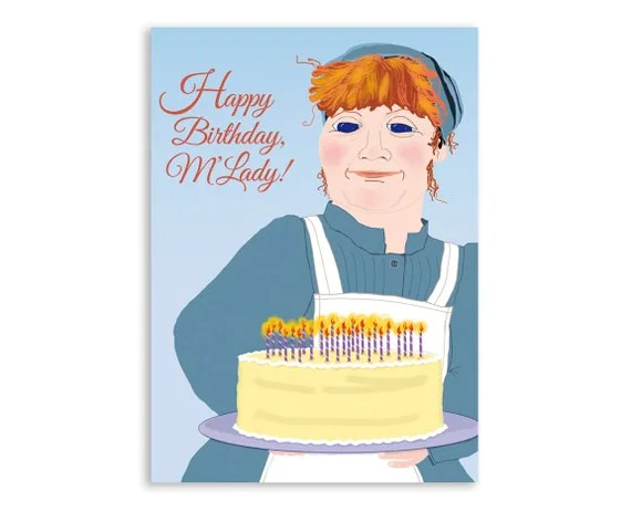 Downton Abbey Birthday Card: Mrs. Patmore's Speciality, Layer Cake for a Lady with frosting and candles
