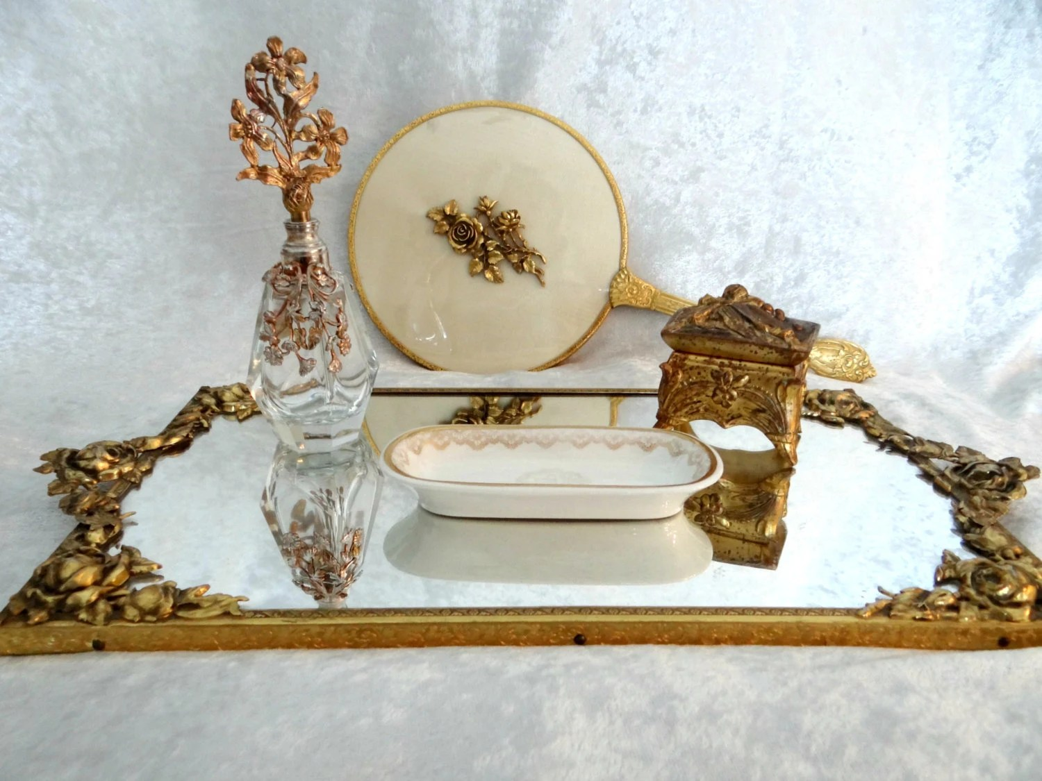 Vintage Ornate Gold Dresser Pieces Gold Mirrored Tray Hand