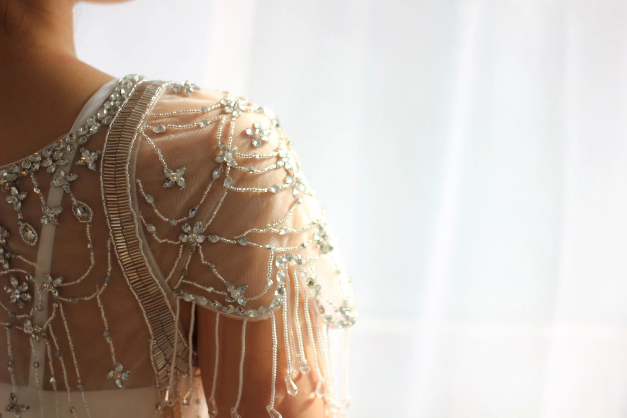 Heavily Beaded Tulle Wedding Dress Cap Sleeves By Dresstalk