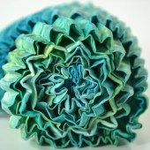 Pleated Silk Scarf, Hand Dyed in Teals, Greens and Blues - joydidit