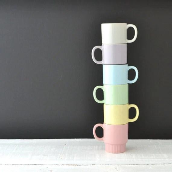 Vintage Stacking Mugs Pastel Coffee Cups Made In Japan