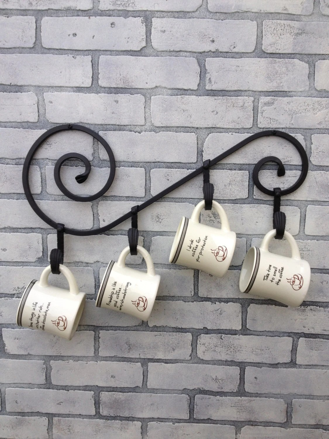 Items similar to Wrought Iron Coffee Mug Holder for Four ... on Iron Stand Ideas  id=15661