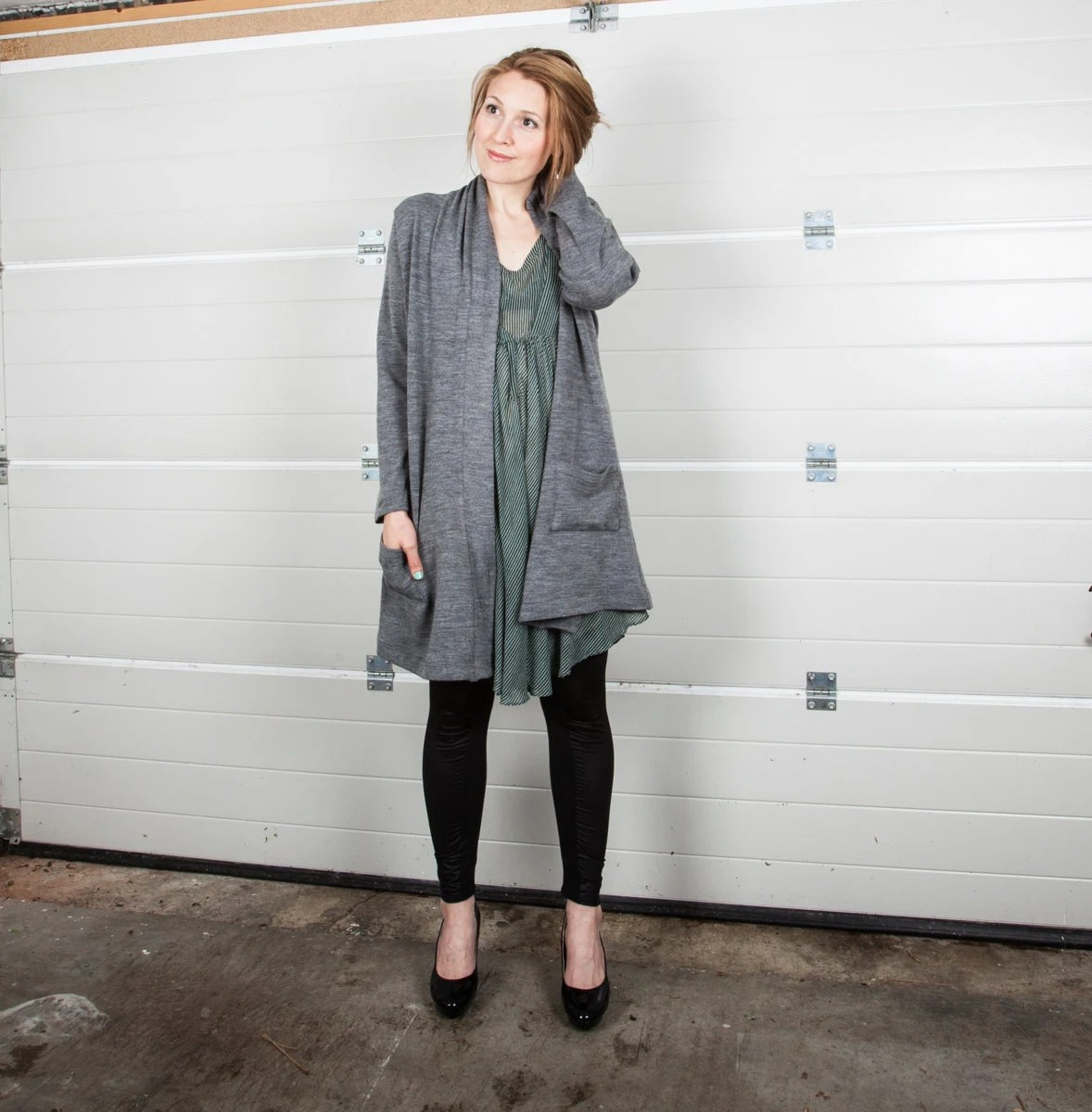 Cecilia long grey cardigan, vegan, pockets, bohemian, comfy, leggings, oversized, big cardigan, size large, collar - raori