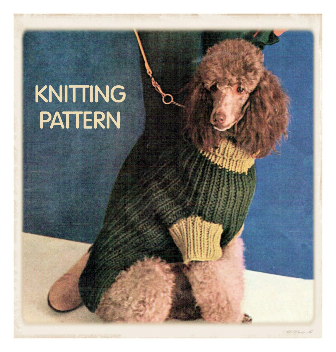 Knitting Pattern Large Dog Sweater : Instant Download PDF Vintage Seventies KNITTING PATTERN to ...