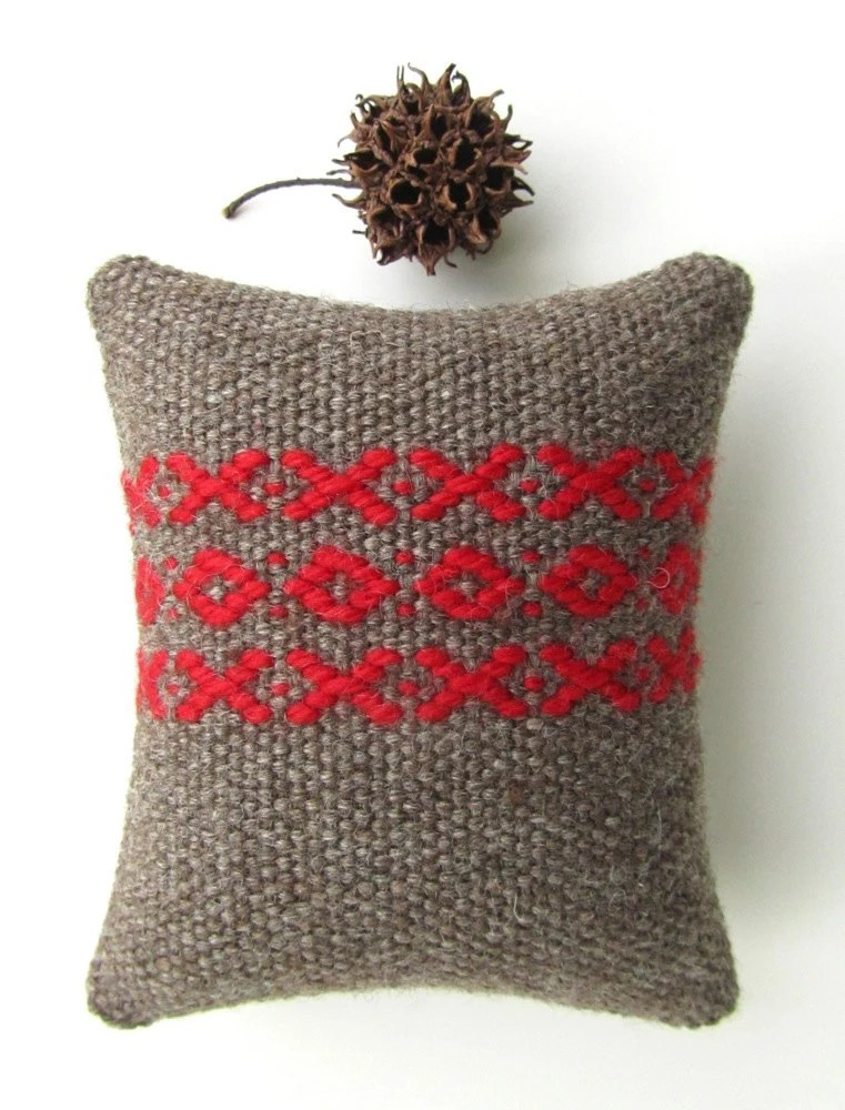 Pretty Pincushion - Swedish Rosepath Handwoven Wool Pincushion - Red and Brown with X and O Pattern - VictoriaGertenbach