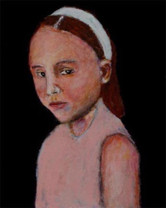 Acrylic Portrait Painting Little girl Alice Original Contemporary Fine Art Dark
