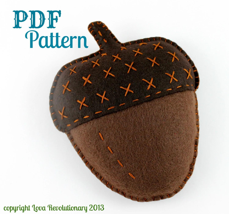 Felt Acorn Craft Pattern Toy Softie Plush Autumn Fall Hand
