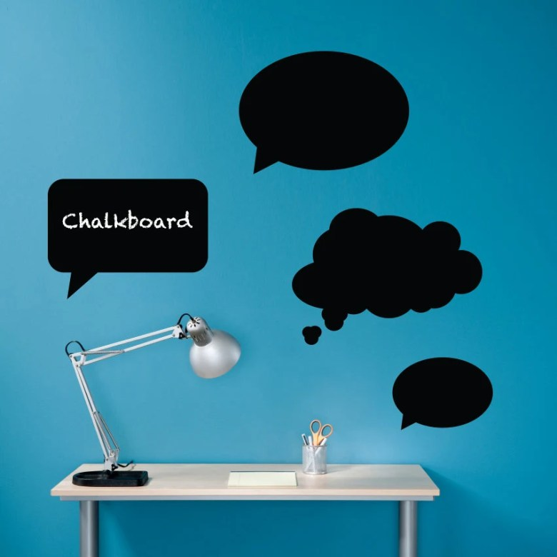 Set of 4 Chalkboard Thought Bubbles by