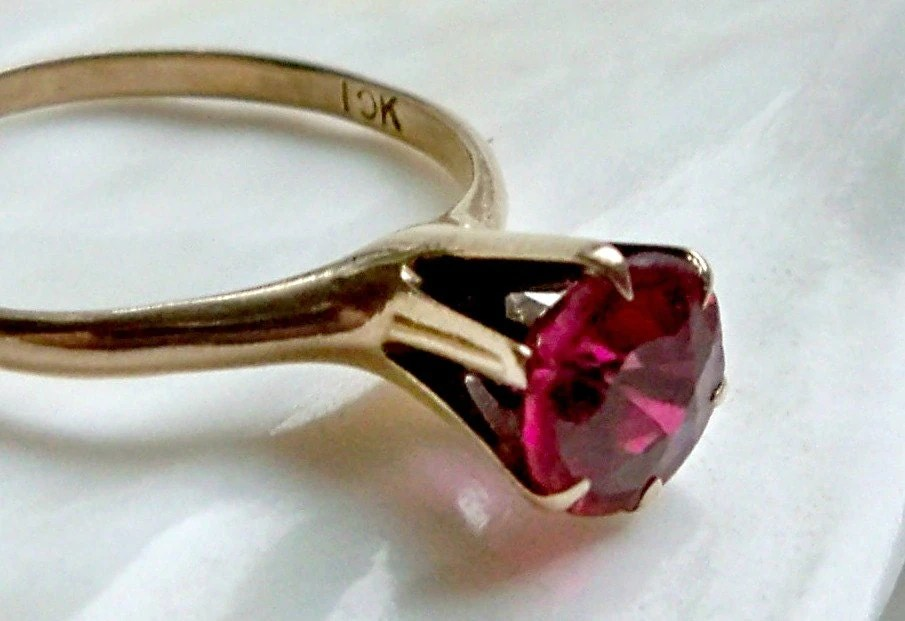 10k Gold Solitaire Ruby Red Stone High Rise By Salemsdestash