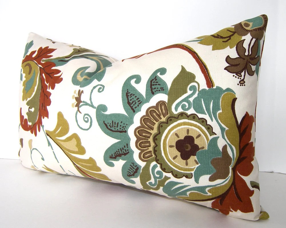 On Sale - Both Sides - Decorative Pillow Cover - 12x20  inches - Lumbar - Rust - Brown - Olive Green - Teal - Taupe - Ivory - Loubella1