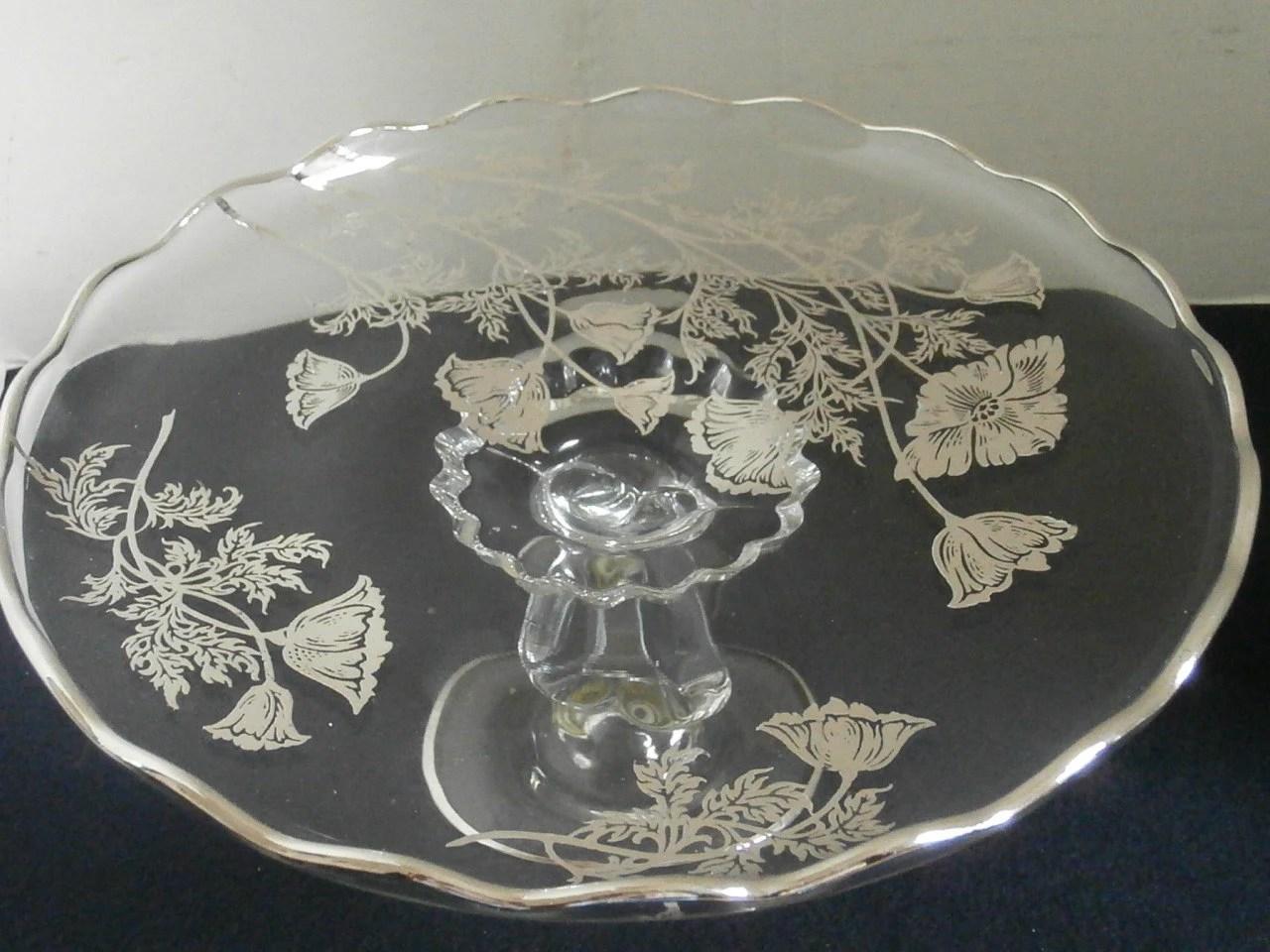 Silver Overlay Pedestal Cake Plate