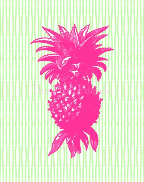 Pink Pineapple on Lime Green Bamboo Stripe Giclee 11x14