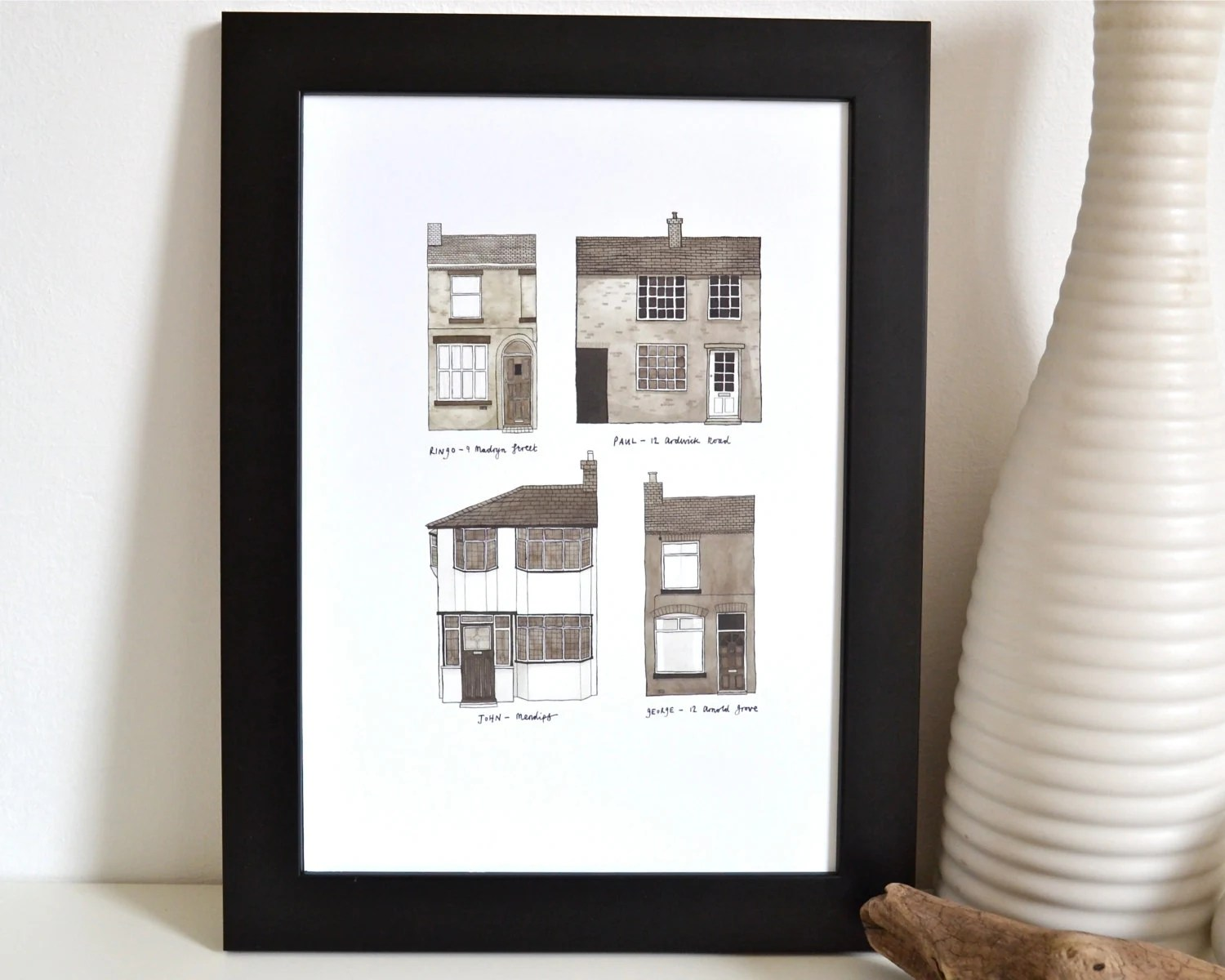 The Beatles' Homes - print of the childhood homes of John, Paul, Ringo and George.