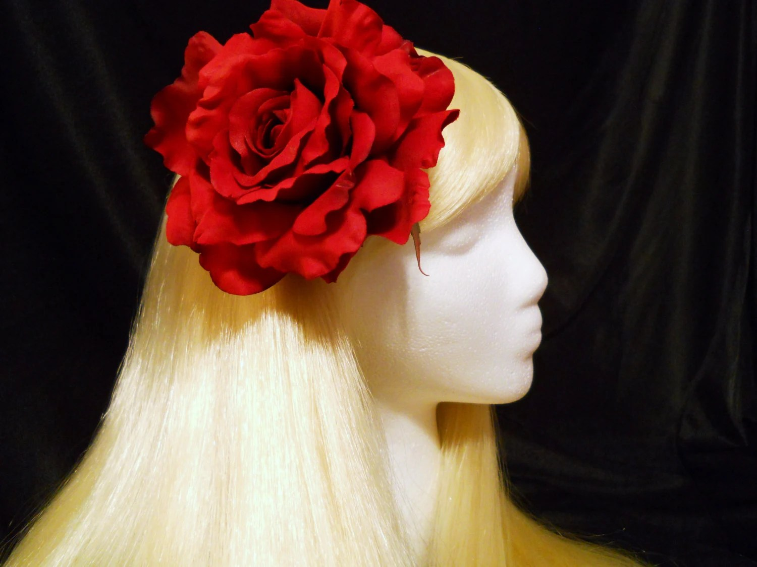 Large Red Rose Hair Clip, Christmas, Holiday, Real Touch, Santa, Rockabilly, Rose Bowl Parade, Wedding, Flower Girl, Goth, Love, Lapel, Hat - MyFairyJewelry