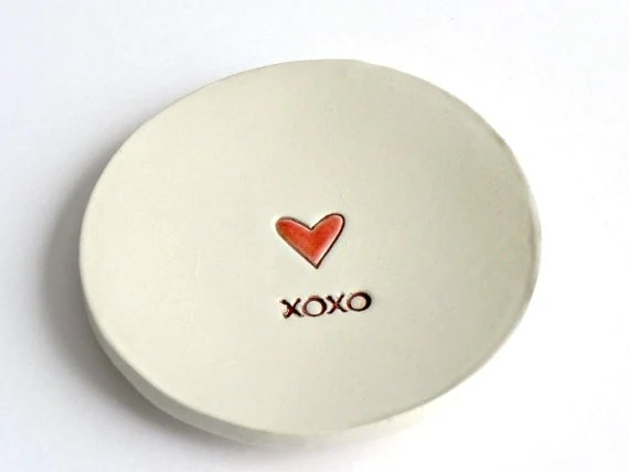 Valentine Ceramic Ring Dish Red Heart XOXO Minimalist Pottery Recycled Box