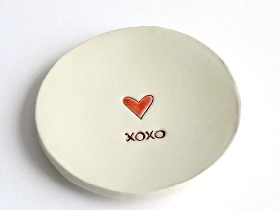 Valentine Ceramic Ring Dish Red Heart XOXO Minimalist Pottery Recycled Box
