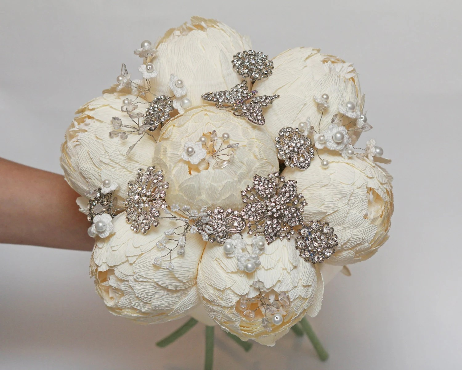 paper peonies and brooch bouquet, broach bouquets, music notes bouquet,