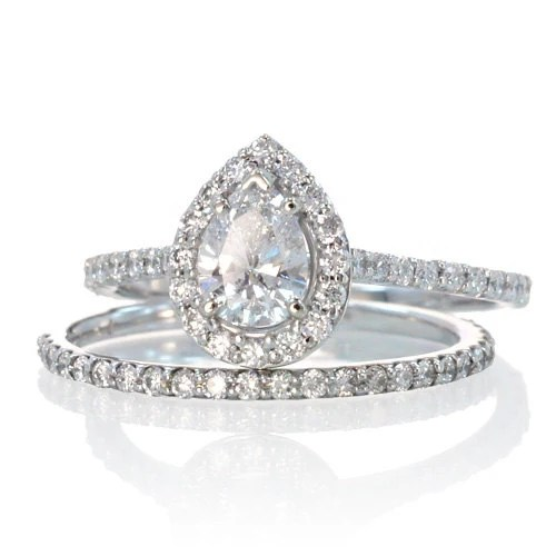 Pear Shape Teardrop Diamond Halo Engagement Solitaire Ring