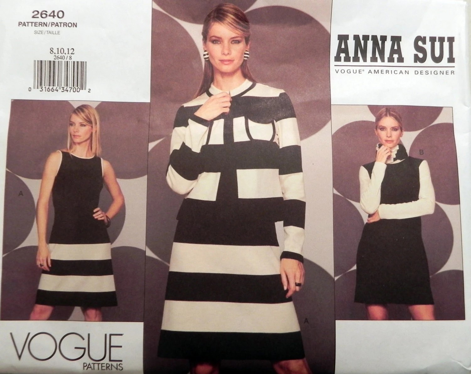 Anna Sui pattern for a striped jacket and dress - Vogue 2640