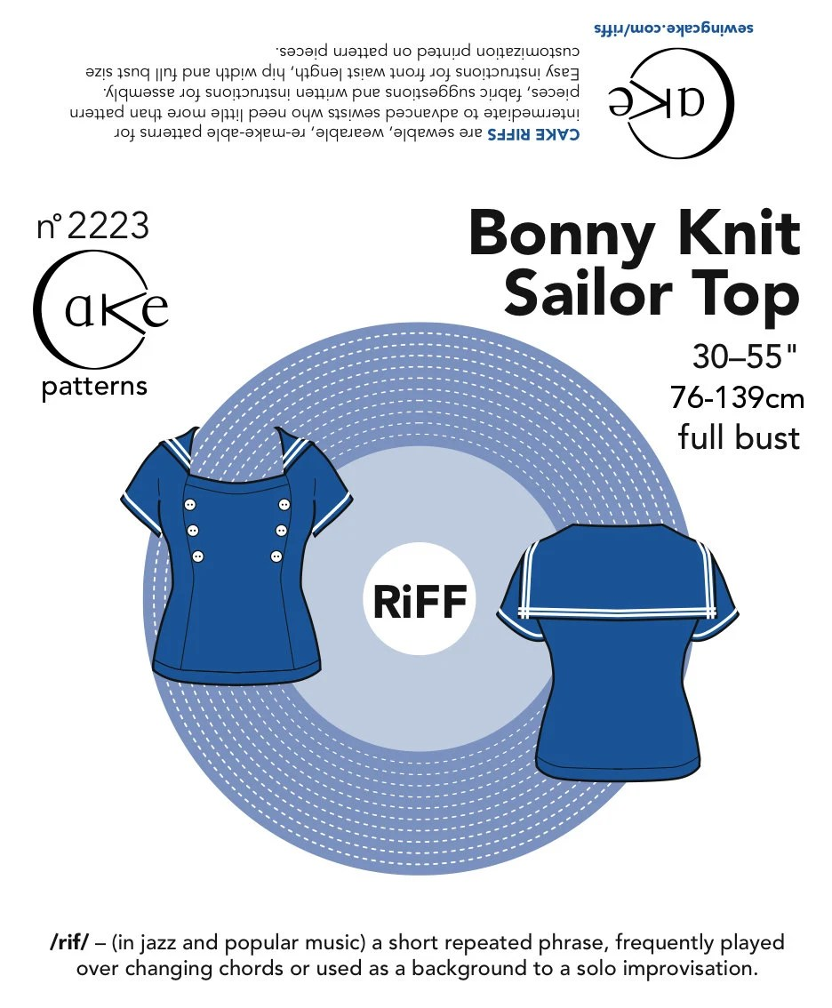 "Cake Patterns RiFF Bonny Knit Sailor Top 30""-55"" (76.2- 139.7cm) Full Bust"